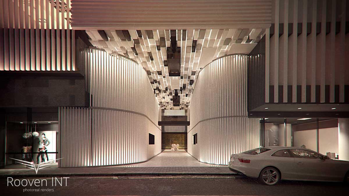 wizualizacja 3d ozdobnego wejścia do hotelu