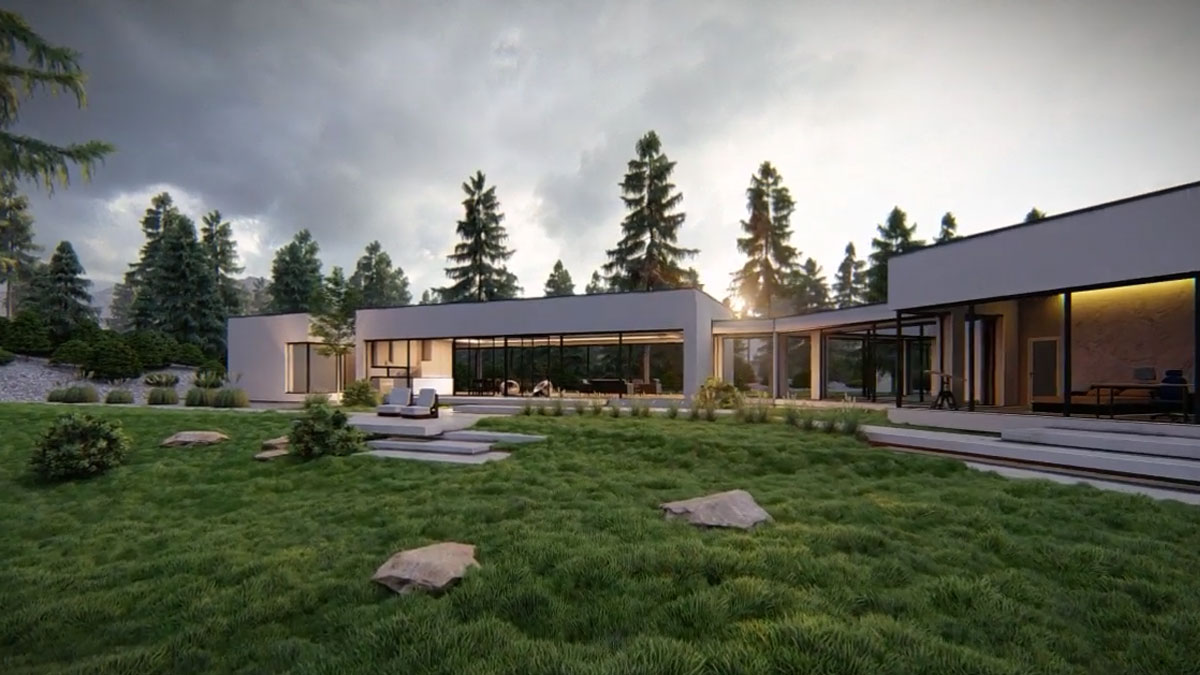 spacer wirtualny widok domu nowoczesnego z zwenątrz