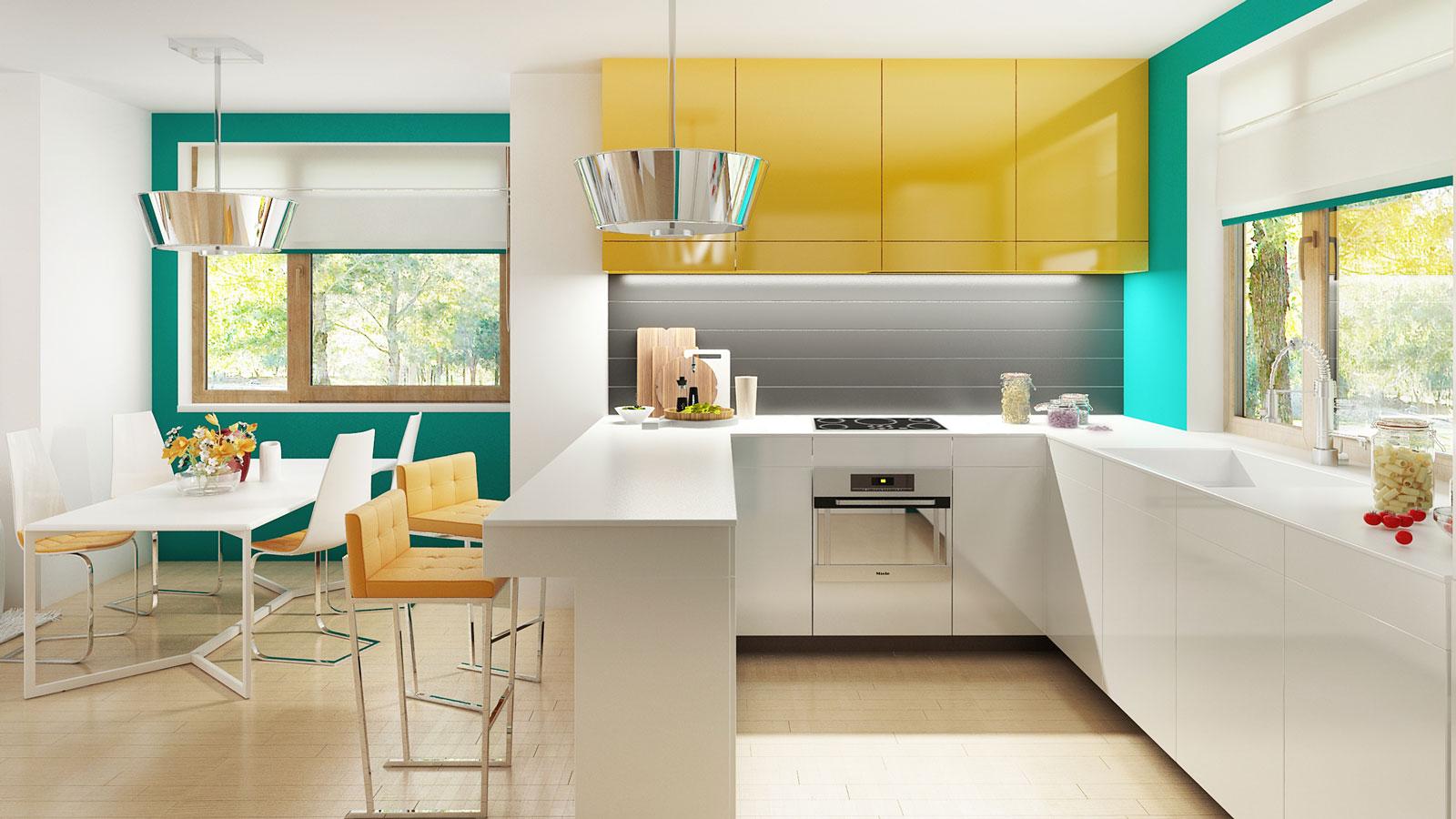 wizualizacje 3d kuchni i jadalni w wiosennych kolorach
