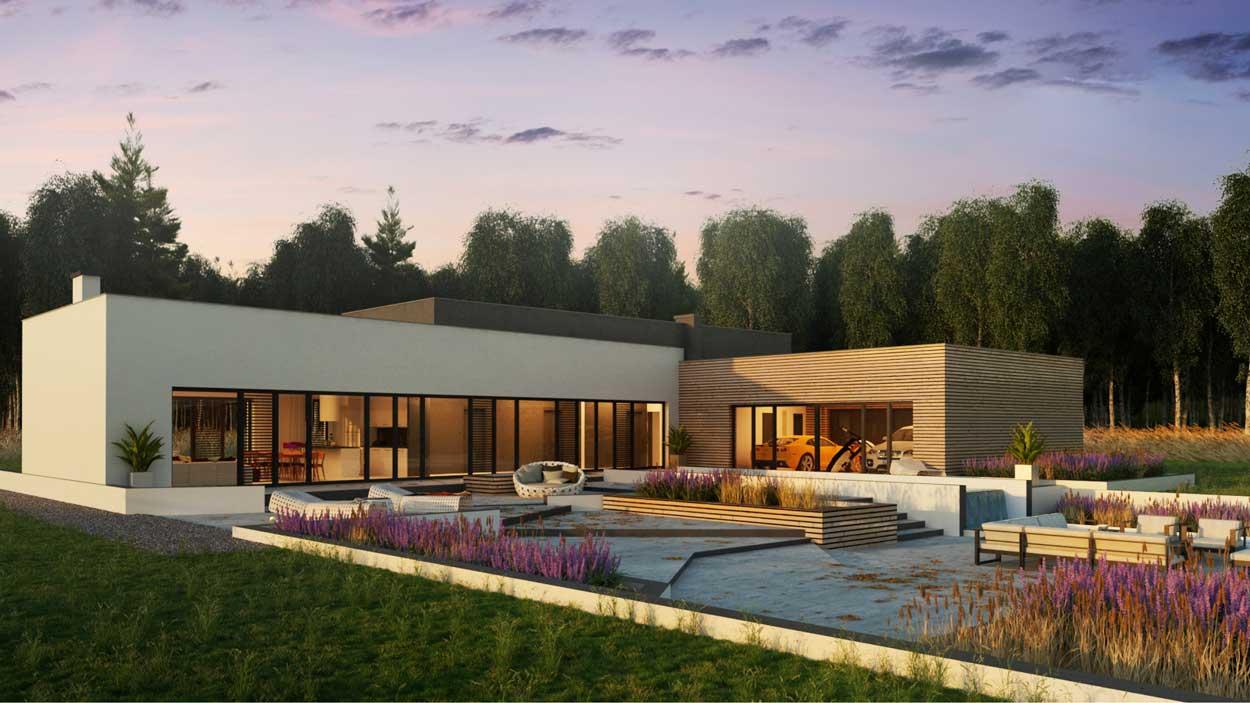 wizualizacja 3d nowoczesnego domu jednorodzinnego