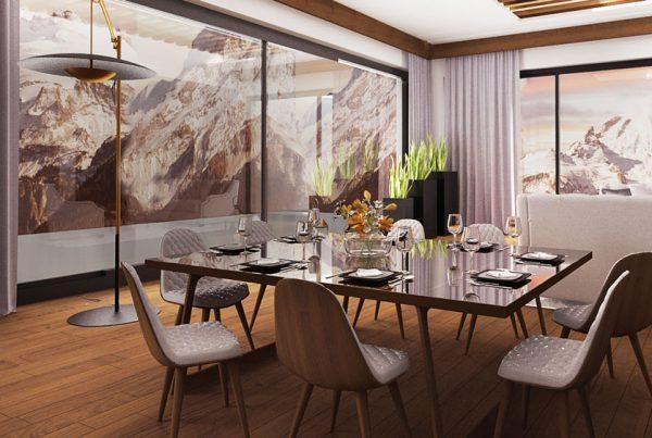 wizualizacja 3d wnetrza salonu z widokiem na góry