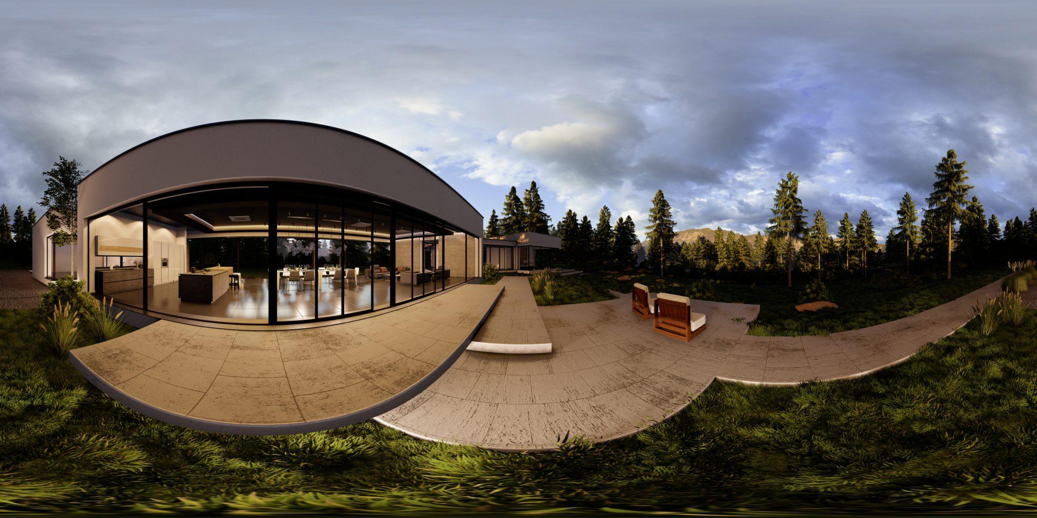 wizualizacja sferyczna budynku domu jednorodzinnego
