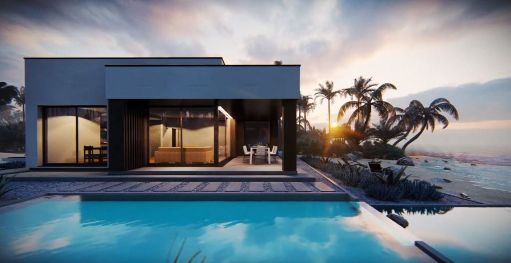 animacja 3d nowoczesnego domu z palmami i plażą