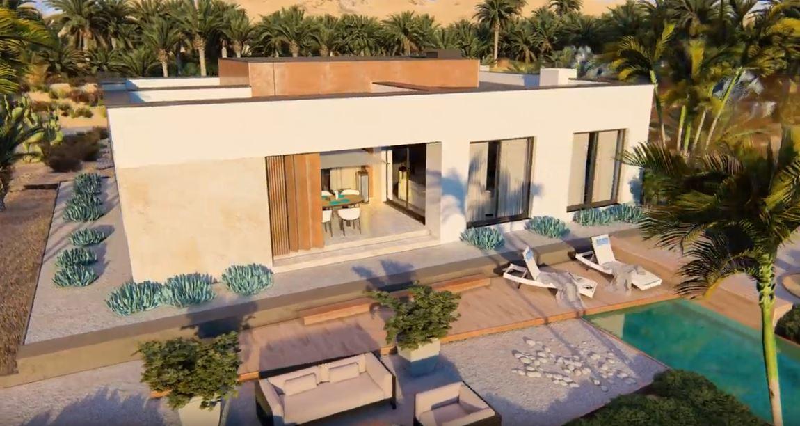 animacje architektoniczne 3d nowoczesnego domu z płaskim dachem