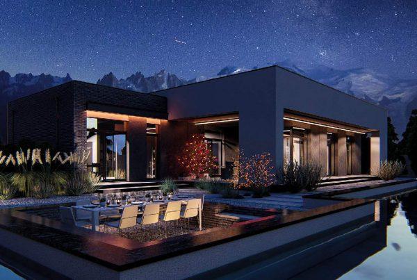 wizualizacja projektu nowoczesnego domu jednorodzinnego