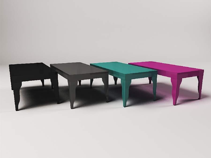 wizualizacje mebli , prezentacja stolików w różnych kolorach