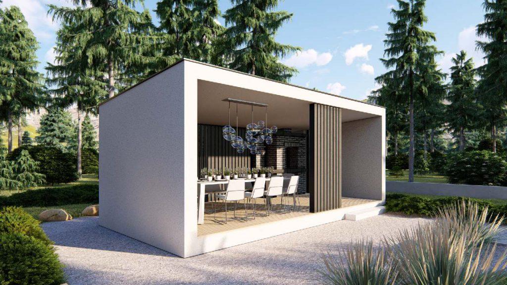 nowoczesna wizualizacja altany ogrodowej