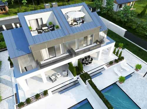 wizualizacje tarasu na dachu domu w zabudowie bliźniaczej