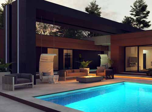 wizualizacja tarasu w domu jednorodzinnym z basenem