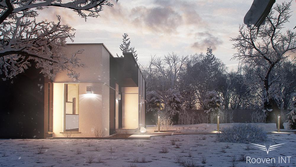 wizualizacja 3d zimowa domu jednorodzinnego