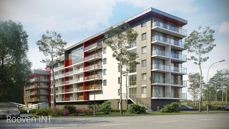 wizualizacje 3d budynku mieszkalnego