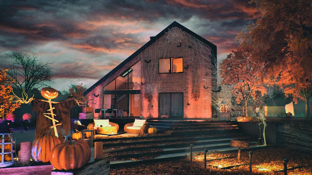 wizualizacja domu na halloween