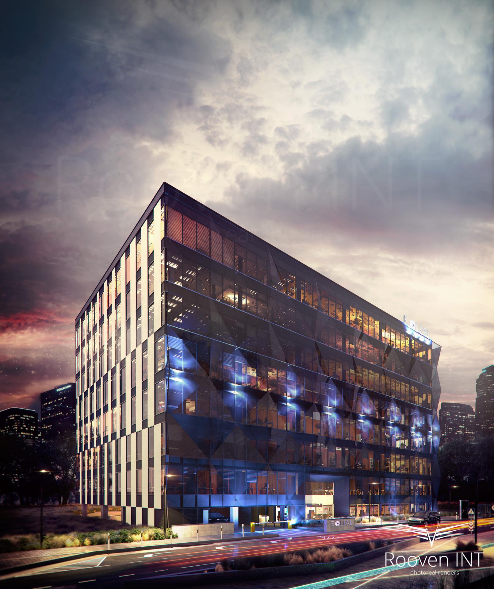 wizualizacje 3d budynku biurowego ujęcie wieczorne