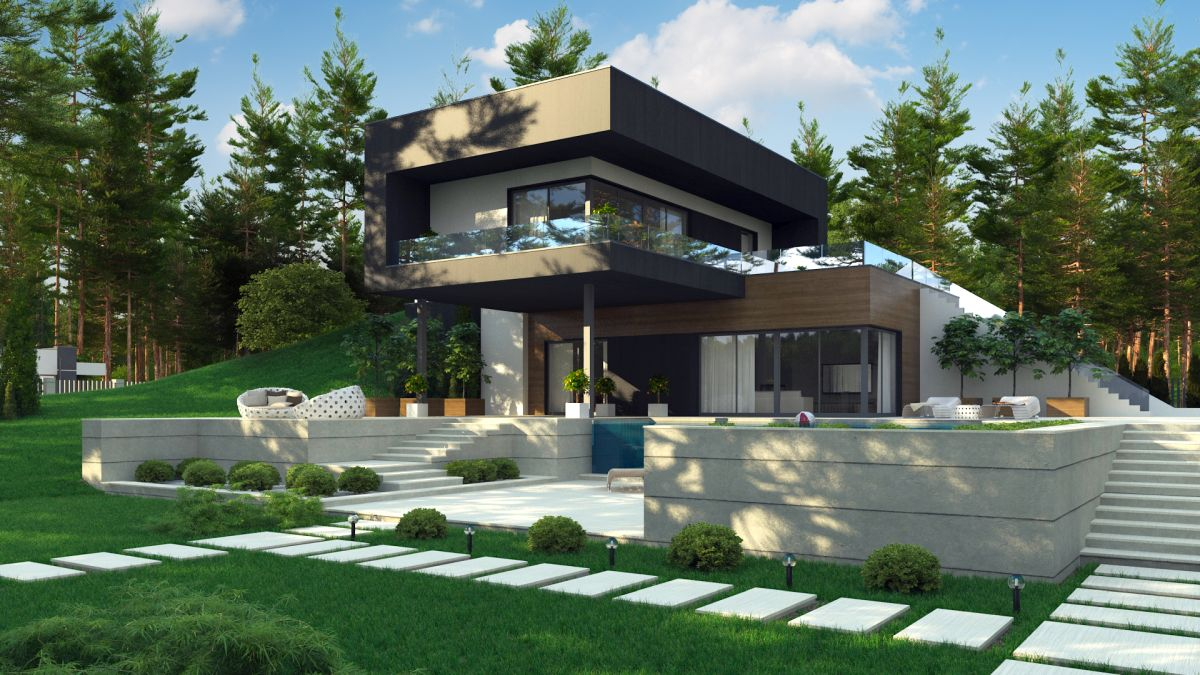 wizualizacje 3d nowoczesnego domu z płaskim dachem od ogrodu