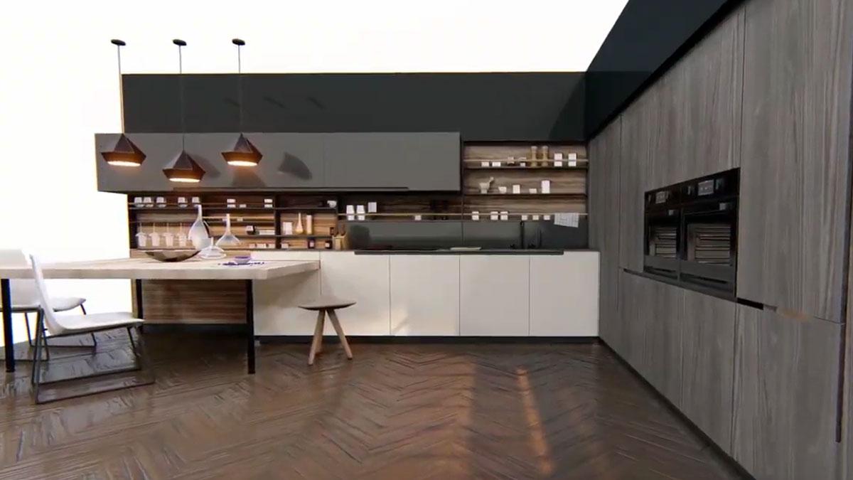 animacje 3d mebli kuchennych na białym tle