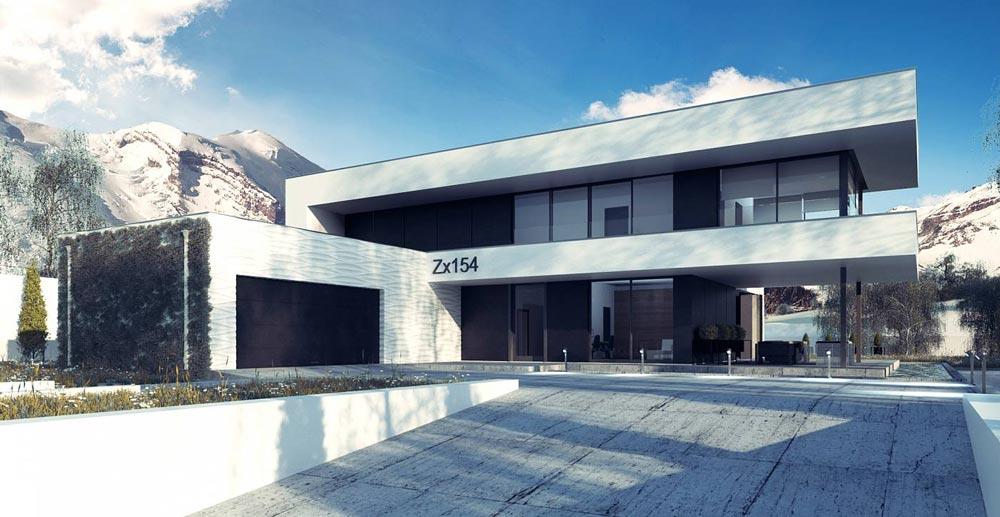 wizualizacja zimowa 3d nowoczesnego domu jednorodzinnego