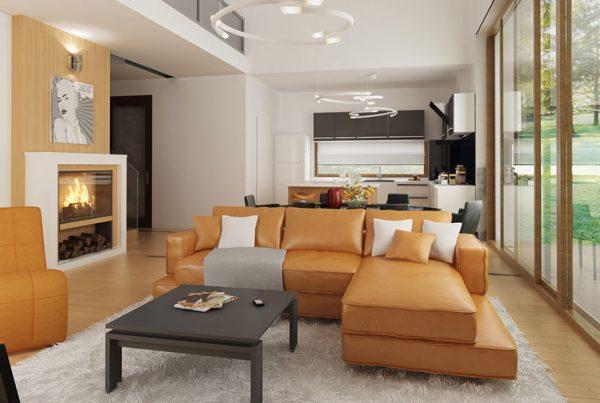 wizualizacja 3d salonu z antresolą