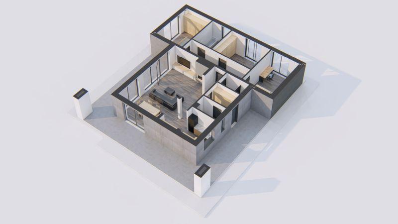 wizualizacja 3d rzutu pomieszczeń domu lub mieszkania