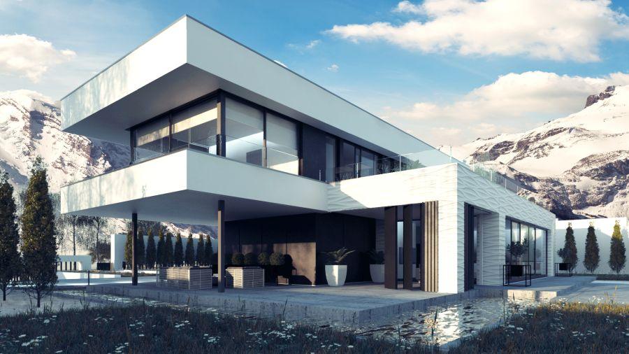 wizualizacja 3d nowoczesnego domu zimą