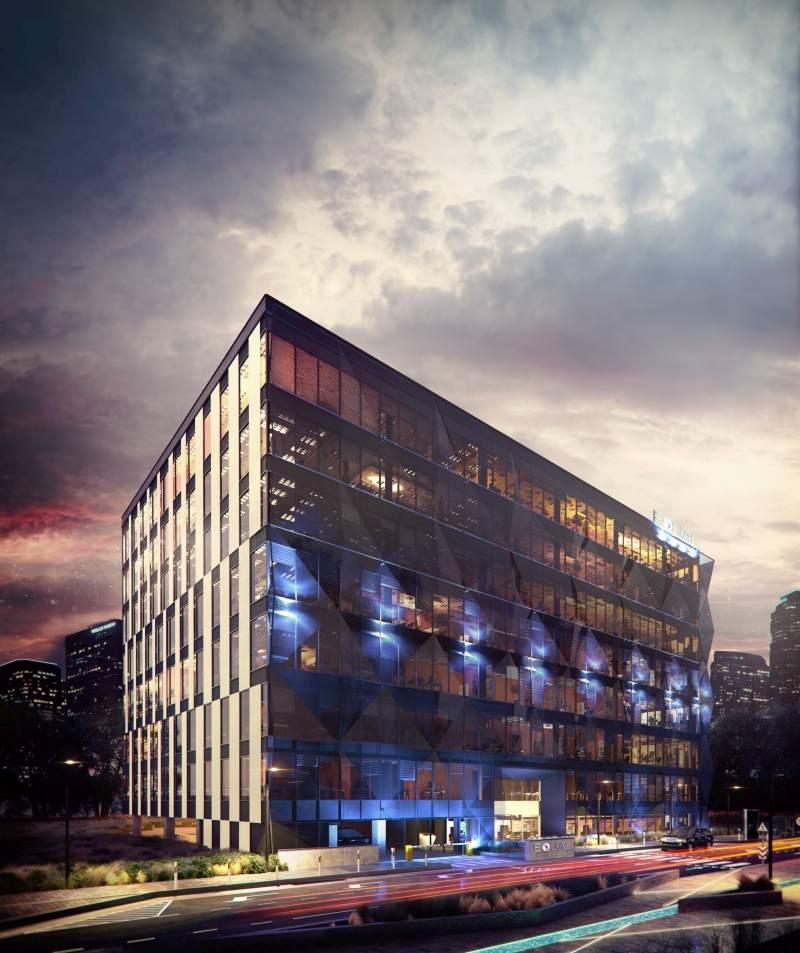 wizualizacje budynków biurowych wieczorem