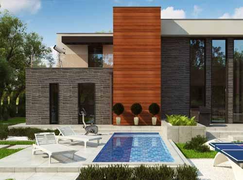 wizualizacja tarasu i części ogrodowej w domu jednorodzinnym