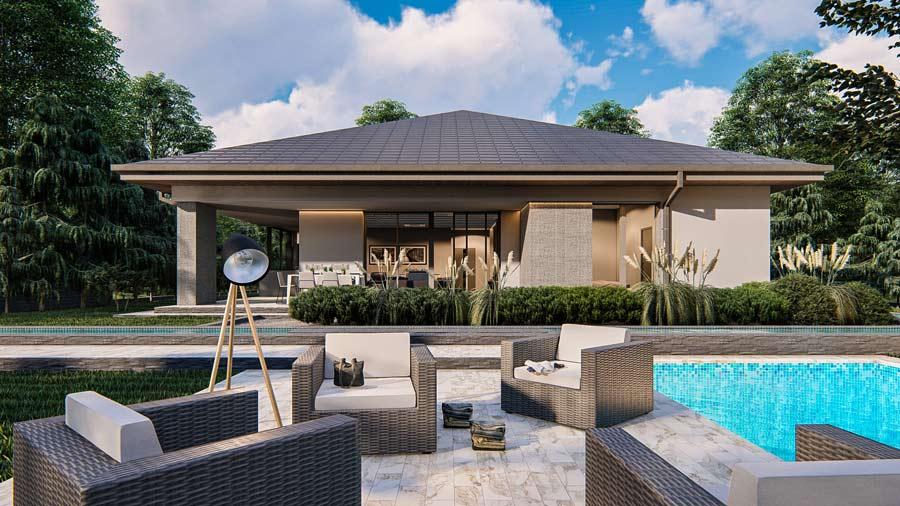 wizualizacja tarasu domu jednorodzinnego z basenem