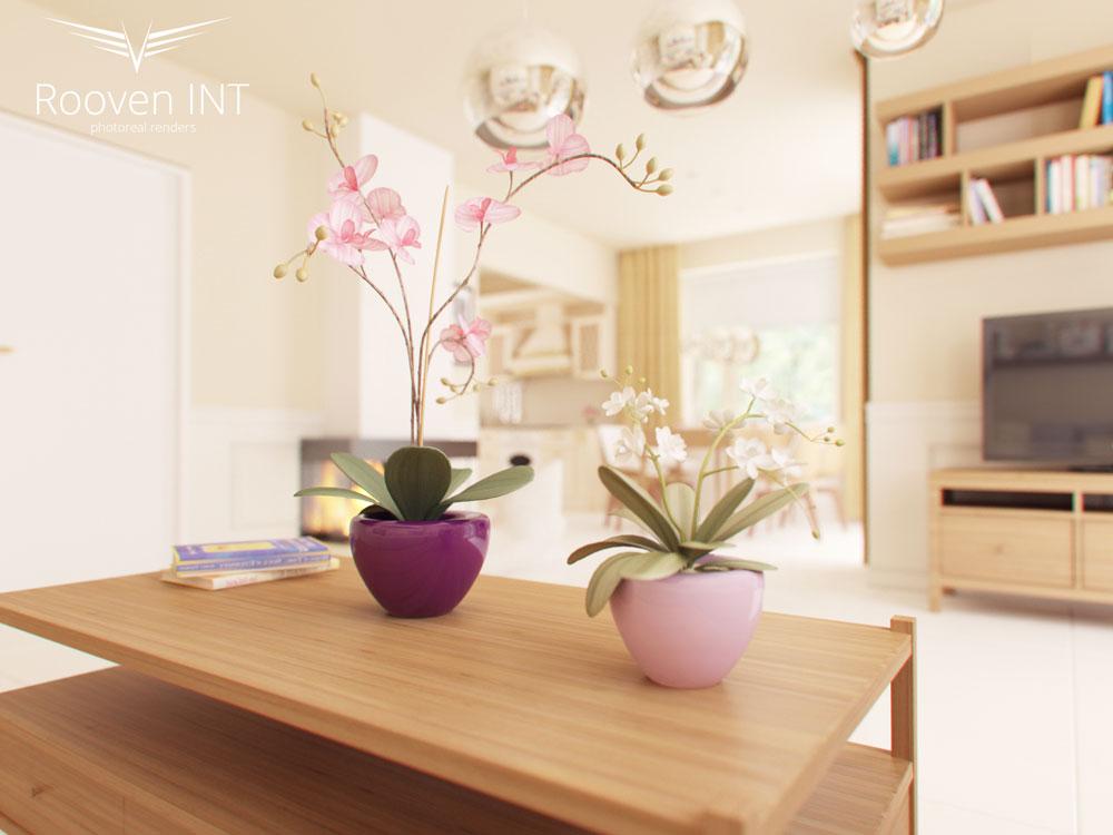wizualizacje realistyczne wnętrz salonu domu jednorodzinnego