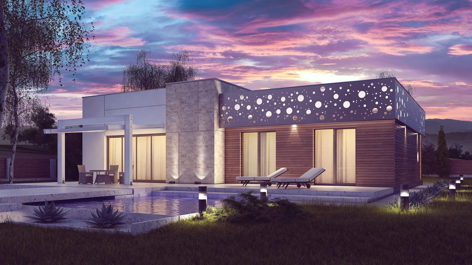 wizualizacje 3d domów jednorodzinnych z płaskim dachem
