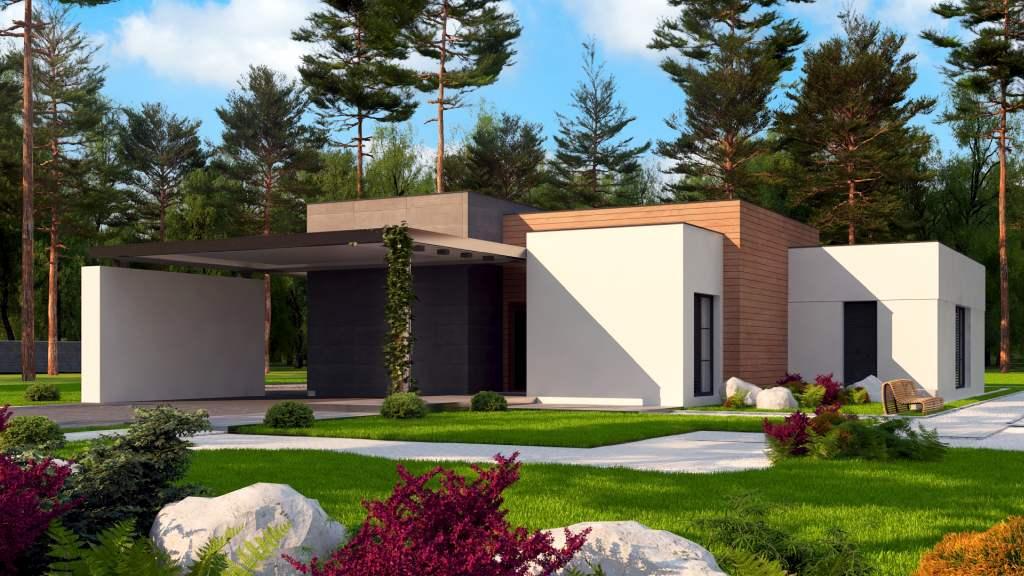 wizualizacje domu nowoczesnego jednorodzinnego