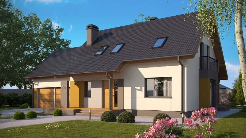 wizualizacje elewacji domu taniego w budowie