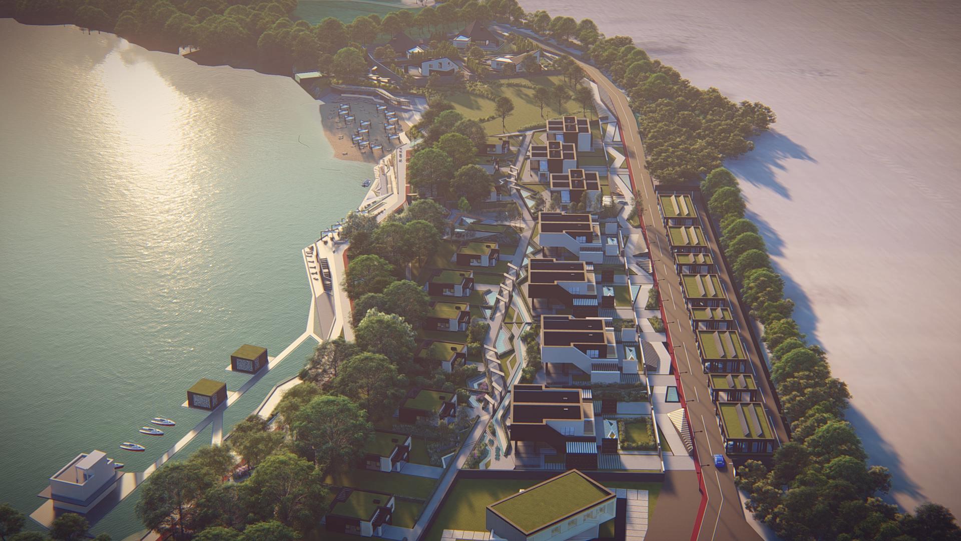 wizualizacje z góry pokazujące całe osiedle domów nad jeziorem