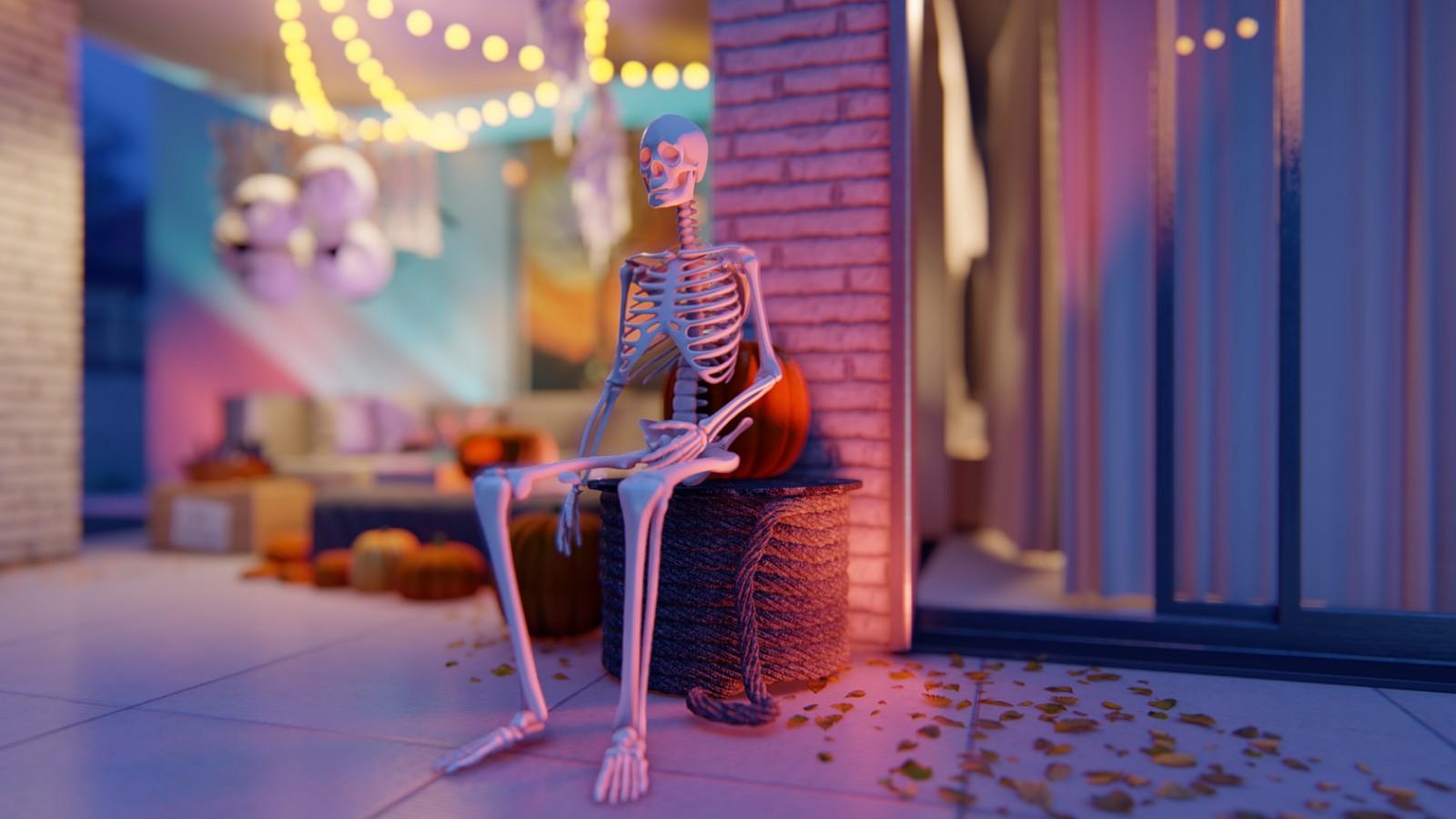 wizualizacje halloween ze szkieletem dla branży meblarskiej