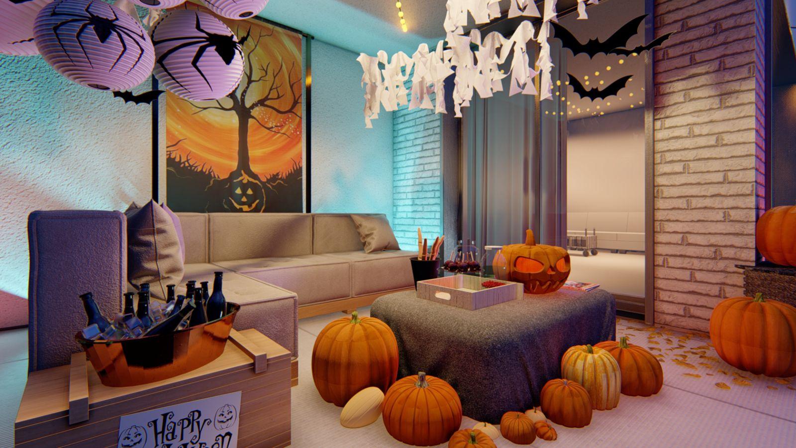 wizualizacje na halloween z dyniami