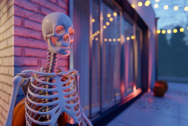 wizualizacje halloween ze szkieletem i domem