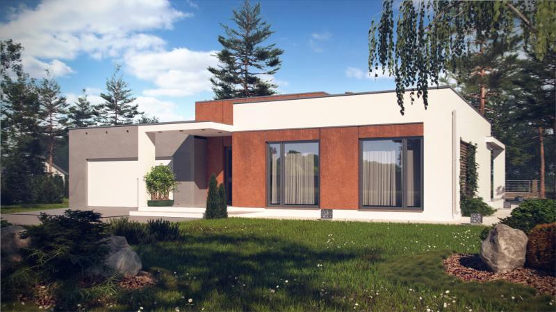 wizualizacje taniego domu nowoczesnego z płaskim dachem