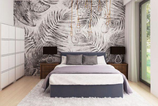 wizualizacje tapet sypialnia