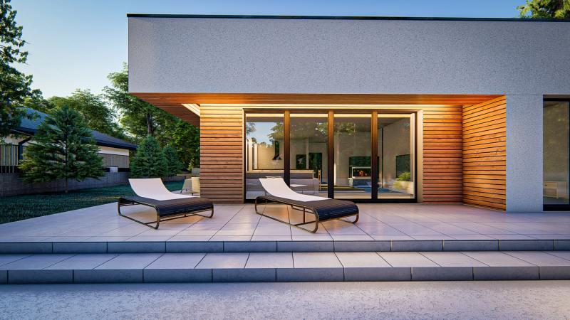 wizualizacja architektoniczna detal domu jednorodzinnego tarasu