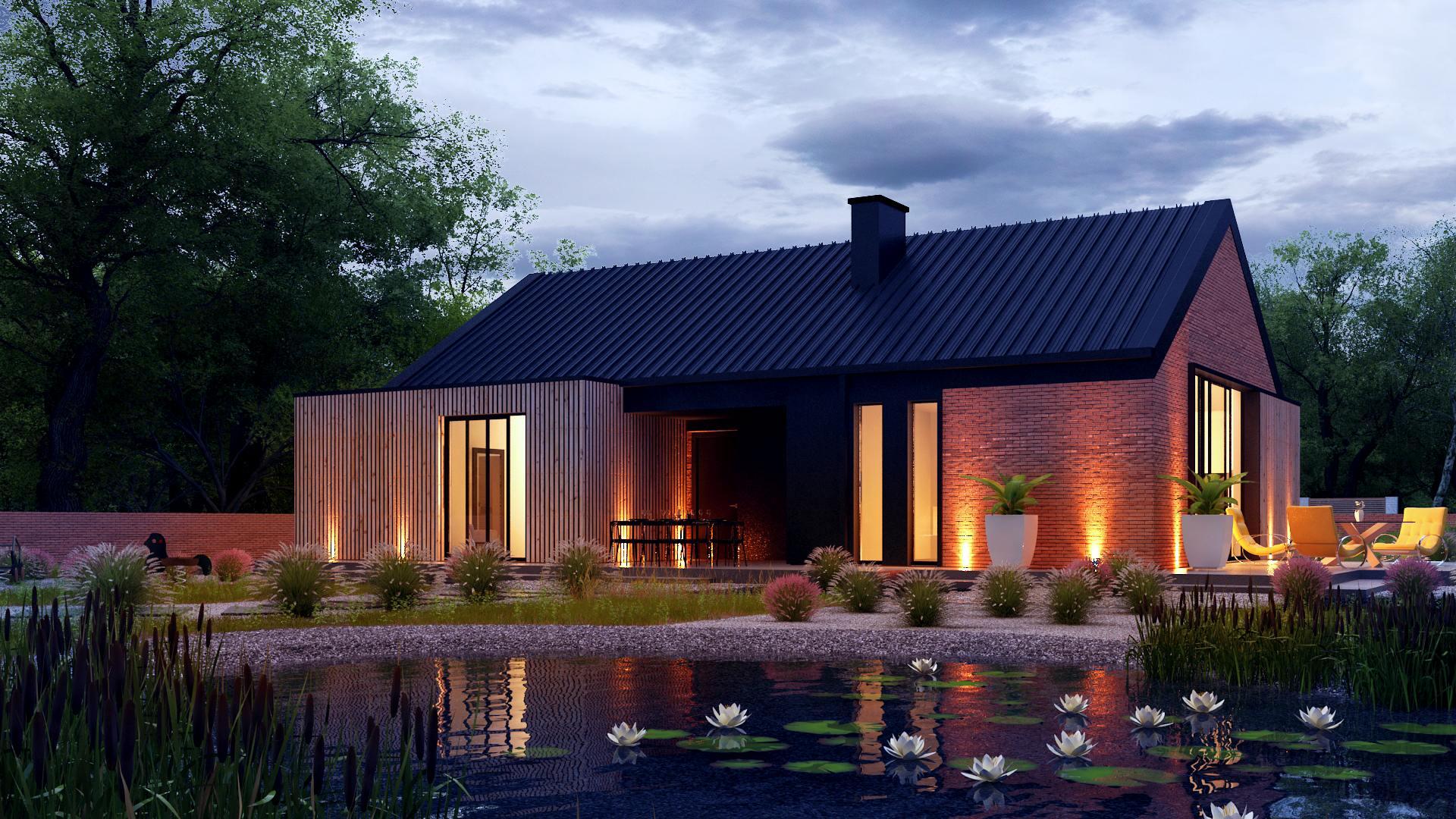 wizualizacja architektoniczna domu jednorodzinnego nad stawem o zachodzie słońca