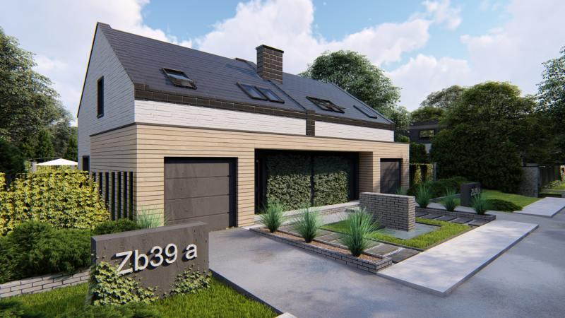 wizualizacja architektoniczna otoczenie domu jednorodzinnego na osiedlu