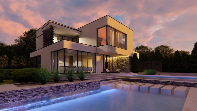 wizualizacja architektoniczna zachód słońca nad basenem