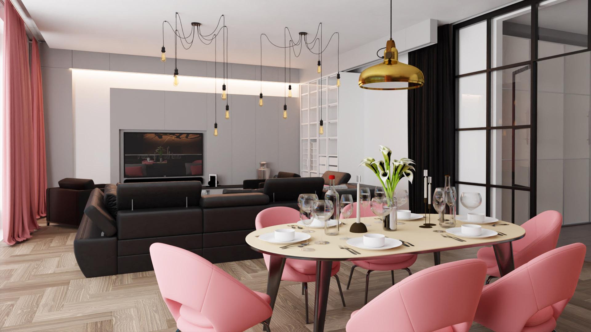 wizualizacje wnętrz 3D salonu i kuchni wraz z jadalnią
