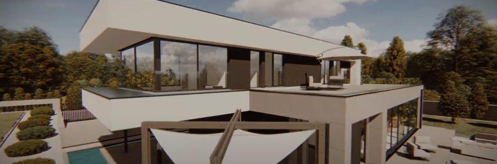 animacja komputerowa architektoniczna domu , budowa ścian, kondygnacji