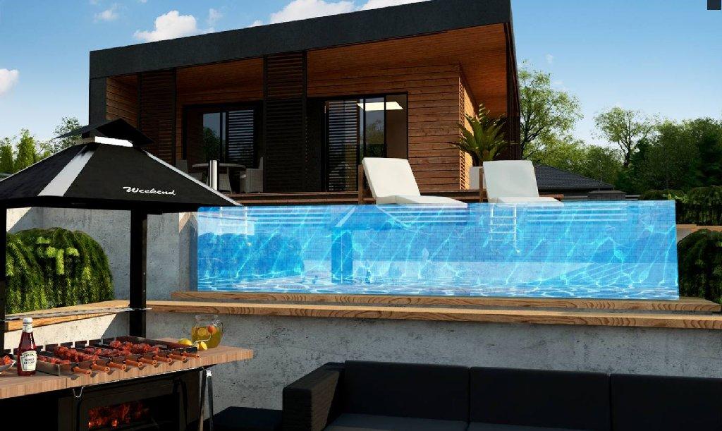 wizualizacje domków działkowych z basenem i grillem