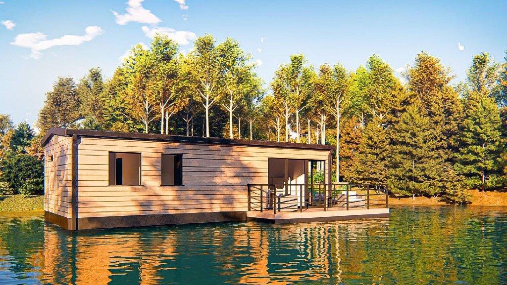 wizualizacje domkow letniskowych nad jeziorem i na jeziorze