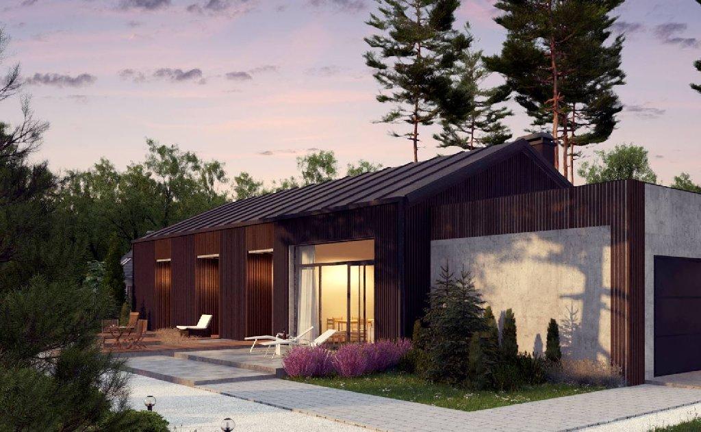wizualizacje domkow letniskowych w lesie o zachodzie słońca