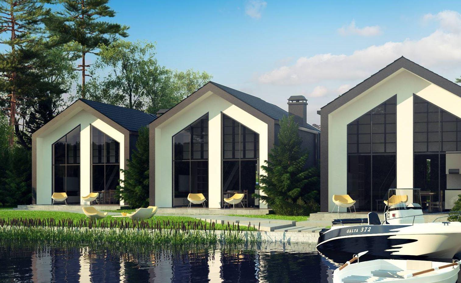 wizualizacje domów letniskowych nad jeziorem