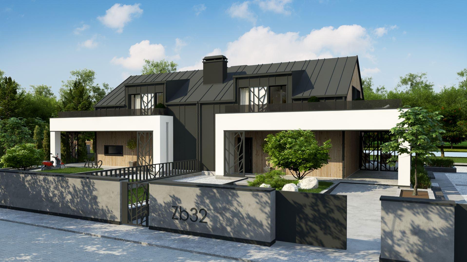 wizualizacje bliźniaków oba domy w ujęciu od frontu