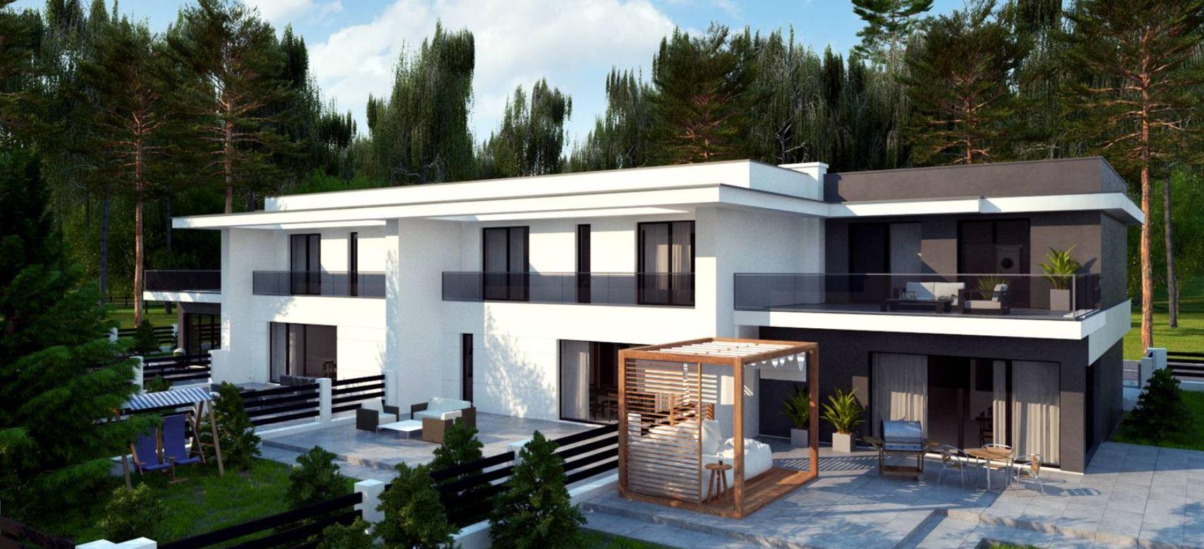 wizualizacje bliźniaków nowoczesnych domów