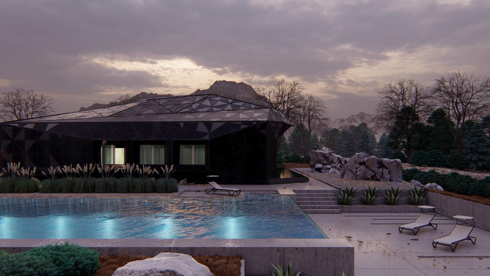wizualizacje czarnego domu modernistyczny dom nowoczesny