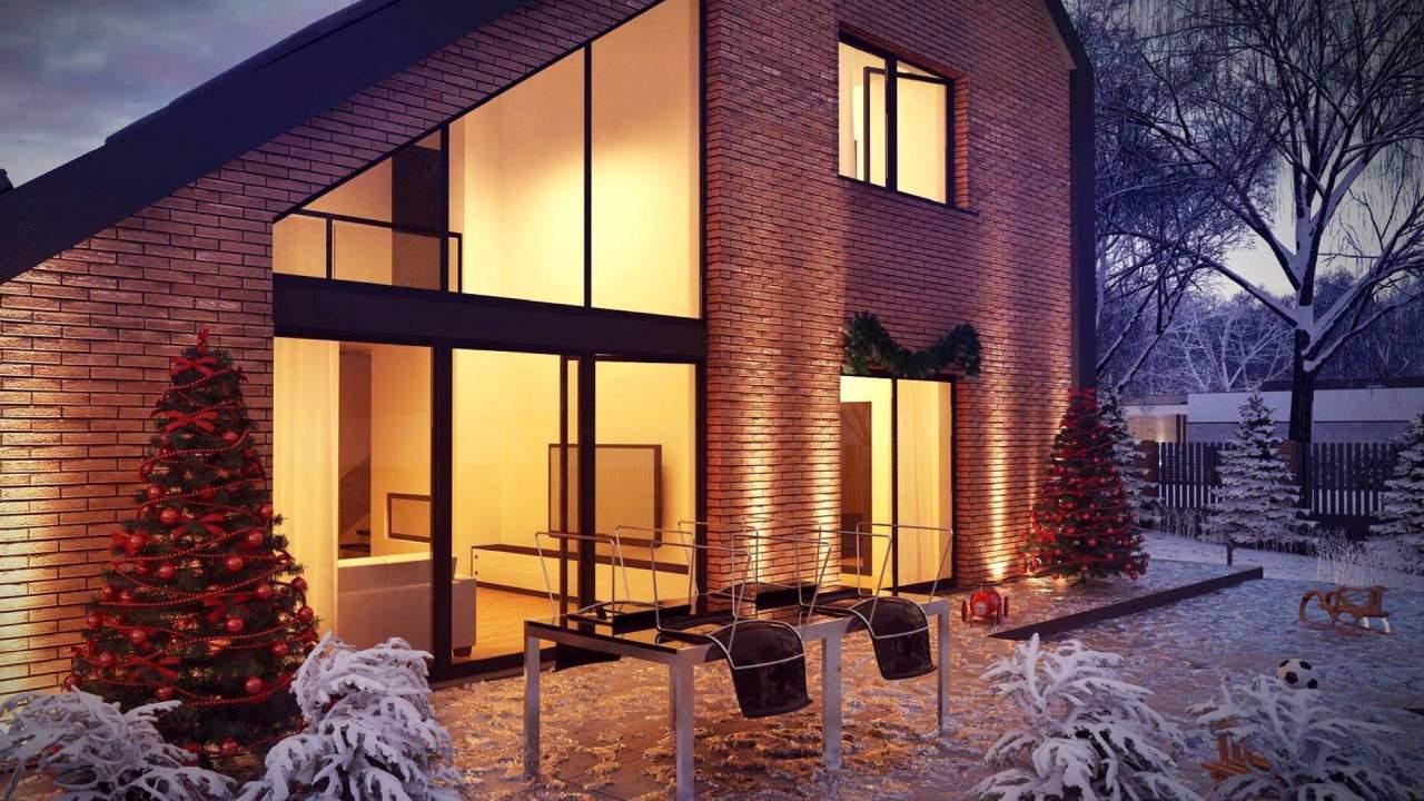 wizualizacja domu zimowa zimą